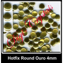Metal Hotfix - 500 unidades - 4mm - Round Ouro